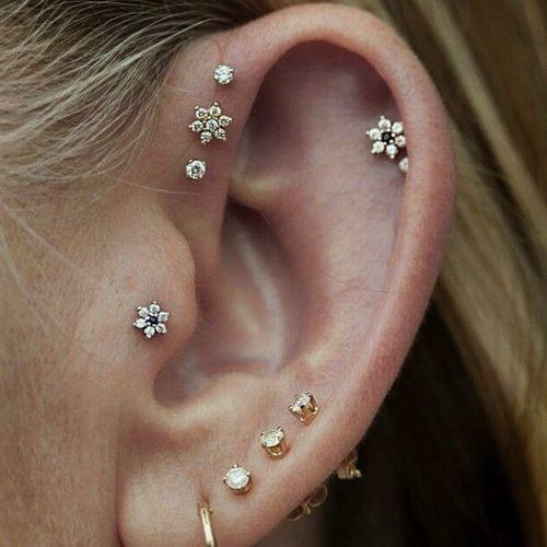 Tragus Piercing With Tiny Diamond Stud For Ear