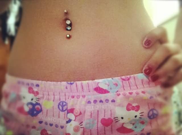 Vertical Belly Piercing